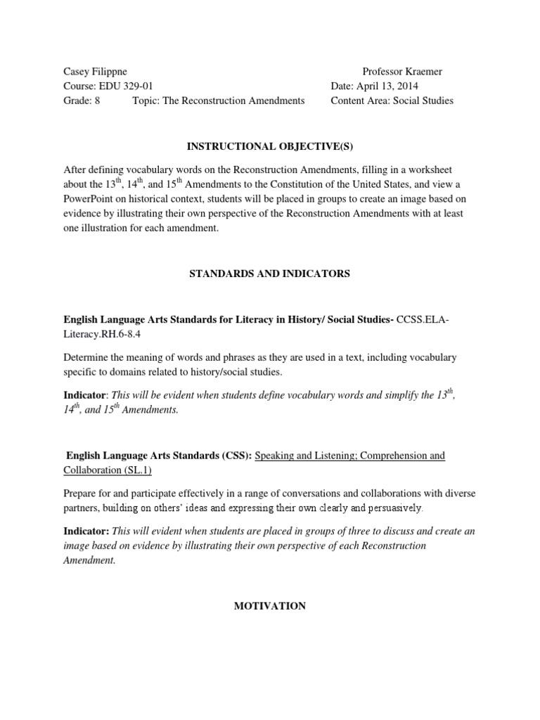 reconstruction amendment lesson plan | Vocabulary | Homework