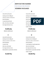 Lagro's Wedding Packages 2014