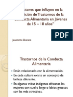 """""""Factores Que Influyen en La Aparición de Trastornos de Conducta Alimentaria"""