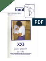 1999 CAPEL. Boletín electoral XXI. Relación entre circunscripciones electorales y sistemas electorales