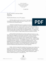 Veto letter by Gov. Paul LePage on LD 1479, An Act to Clarify Telecommunications Regulation Reform,