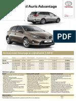 Cenník Toyota Auris Advantage