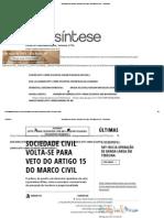 Sociedade Civil Volta-se Para Veto Do Artigo 15 Do Marco Civil - TeleSíntese