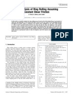 Slab Analysis of Ring Rolling AssumingConstantShearFriction