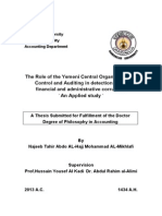 The Role of the Yemeni Central Organization for Control and Auditing in Detection of the Financial and Administrative Corruption an Applied Study