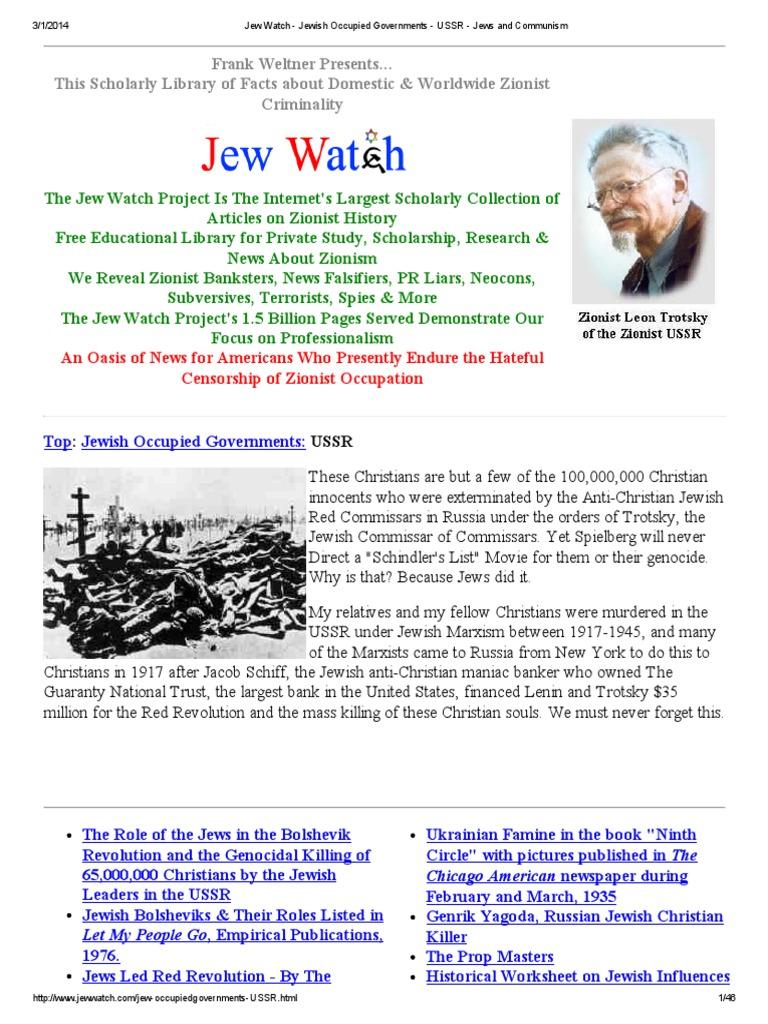 Jew watch jewish occupied governments ussr jews and communism gulag zionism