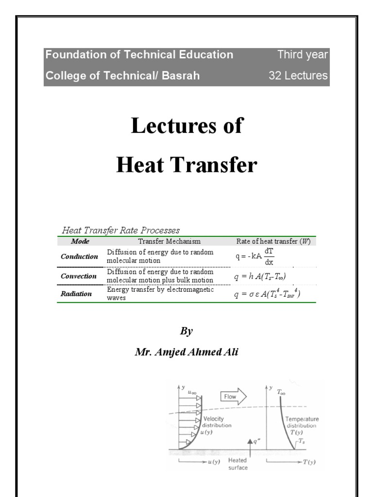 Heat Transfer Lectures 1 Conduction Heat Transfer