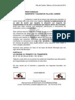 Solicitud Solución a Irregularidades de Transporte Público en Villa del Carbón