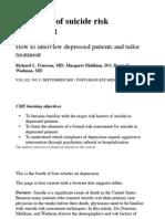 Principles of Suicide Risk Assessment