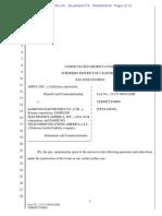 Apple v Samsung Tentative Verdict Form