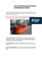10 Important Points to Remember After Completing Cargo Operations on Tankers