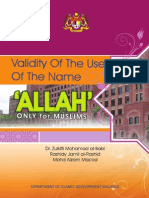 Validity of the Use of the Name Allah Only for Muslims 0