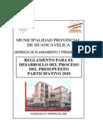 Reglamento Para El Desarrollo Del Proceso Del Presupuesto Participativo 2010