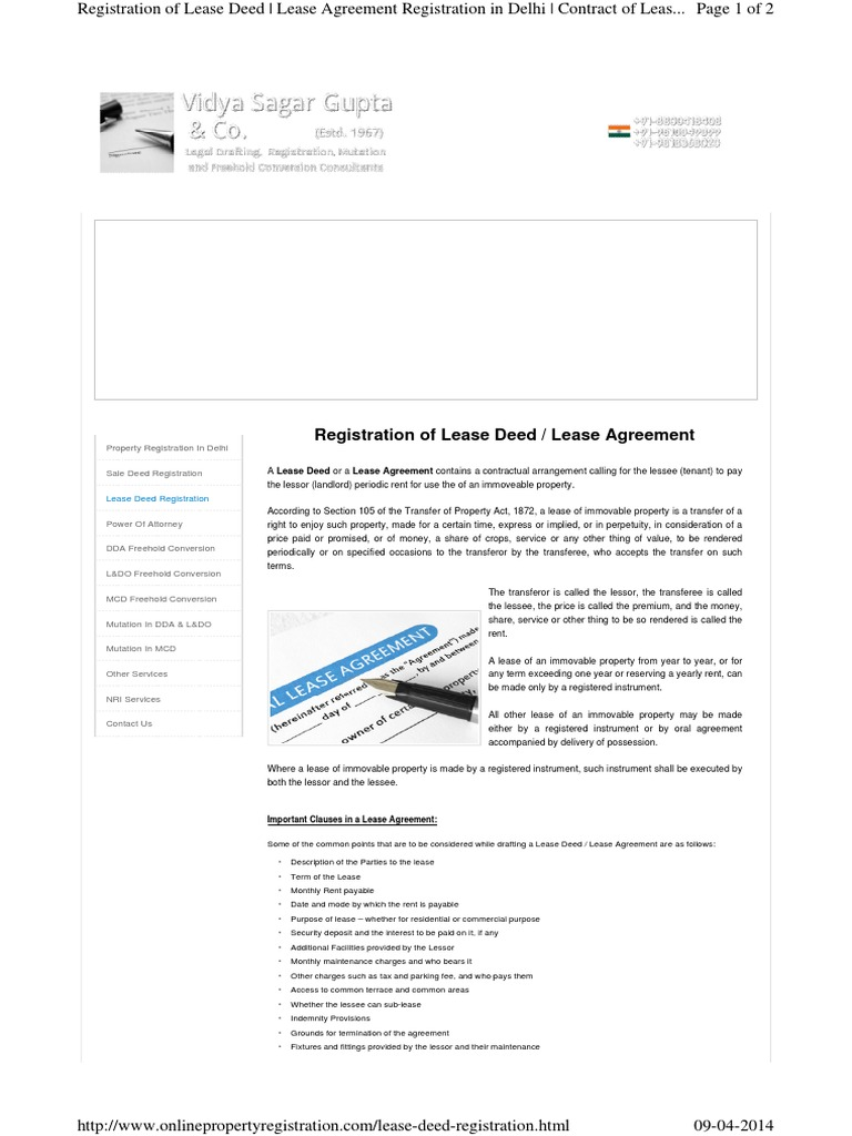 Lease Deed Registration Lease Leasehold Estate