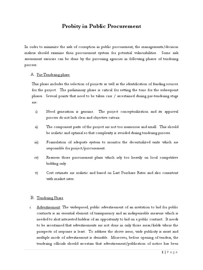 Probity in Public Procurement | Procurement | Audit