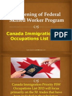 Canada Immigration FSW Occupations List 2014