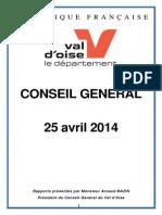 Recueil Du Conseil Général en Date Du 25 Avril 2014