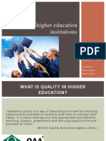 Quality in Higher Education Institutions