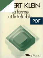 KLEIN Robert - La Forme Et l Intelligible