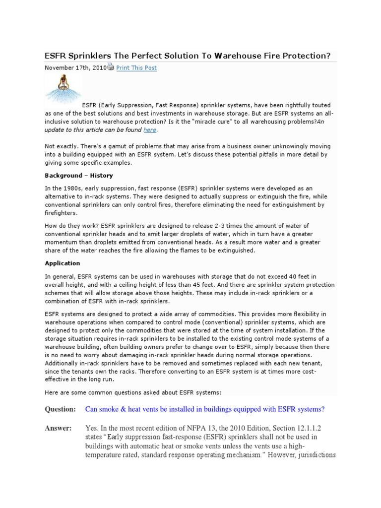 ESFR Sprinkler Seperate With Other | Fire Sprinkler System | Warehouse
