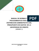 Manual de Distribucion Del Presupuesto de Gasto