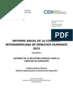 Informe Anual 2013 Relatoria CIDH Capitulo v DAIP