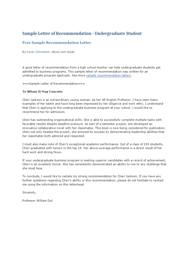 Writing A Letter Of Recommendation For A Highschool Student from imgv2-1-f.scribdassets.com