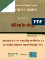 urban immersion certificate of achievement 2012