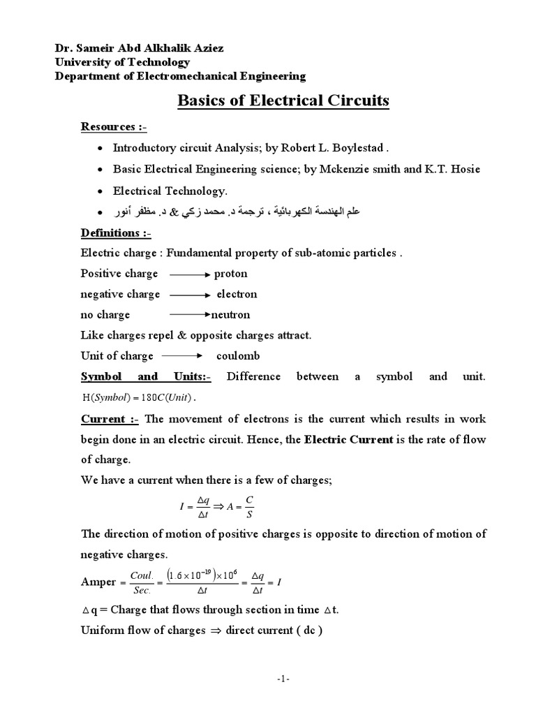 Electrical Circuits Introduction Electric Charge Need A Basic Understanding Of How Electricity Flows Around Circuit Resistivity And Conductivity