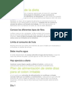 Sindrome colon irritable dieta pdf