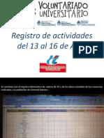 Registro de Actividades Del 13 Al 16 De