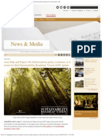 Asia Pulp and Paper's No Deforestation Policy Continues as It Issues Its Third Sustainability Roadmap 'Vision 2020' Update