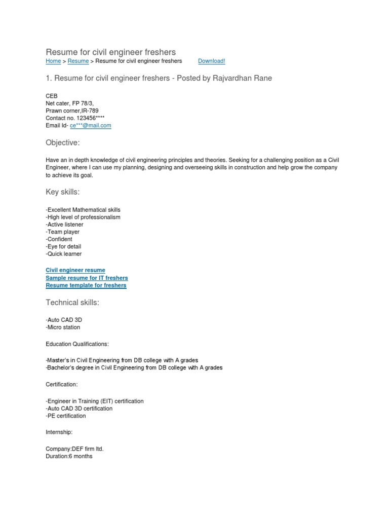 Resume Format Civil Engineering Engineer