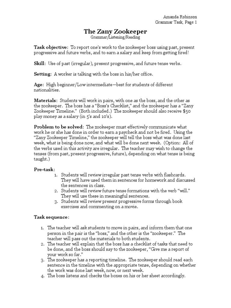 High Beginning-Low Intermediate Grammar(Verb Tenses Past, Pr | Grammatical  Tense | Language Mechanics