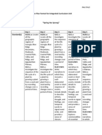 lesson plan format for integrated curriculum unit