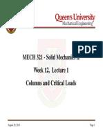 MECH321 Week12Lecture1 ColumnsandCriticalLoads Long