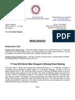 Wayne County Prosecutor New Updates April 6 - 12, 2014