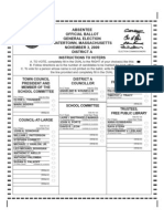 Ballot for Watertown election 2009 -- District A