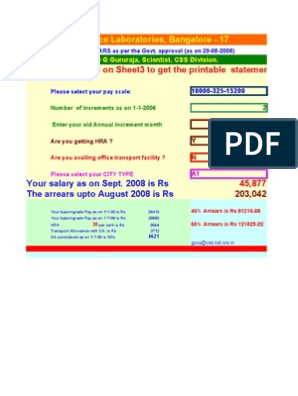 sixth pay salary calculator by G Gururaja (EXCEL FILE)