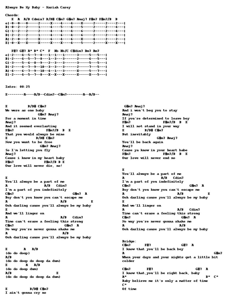 Always Be My Baby Mariah Carey Guitar Chords