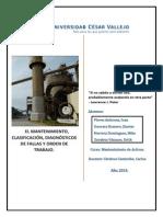 El Mantenimiento, Clasificación, Diagnósticos de Fallas y Orden de Trabajo.