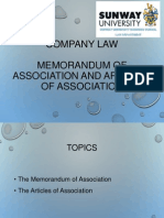 6. Memorandum and Articles of Association(1)