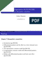 ECON3200 Class6 Monopolistic Competition