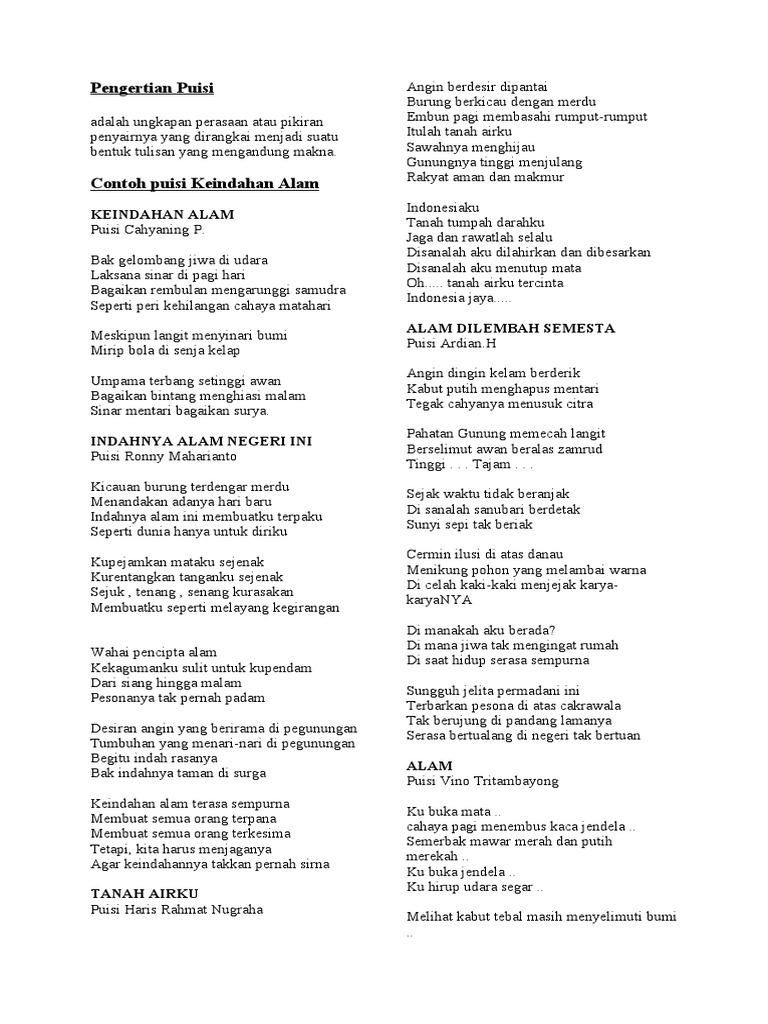 Amanat Puisi Keindahan Alam Kumpulan Puisi