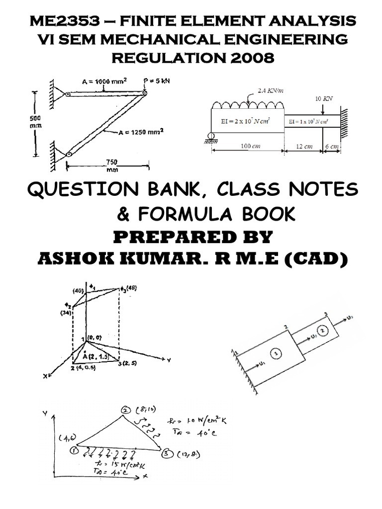 question bank finite element analysis Finite element methods: basic concepts and applications of finite element methods a question bank at the end finite element analysis of single.