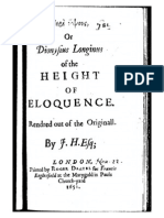 1652 LONGINUS ... of the Height of Eloquence [Tr. Hall]