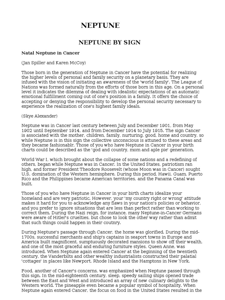 Neptune Sign House Aspect | Planets In Astrology