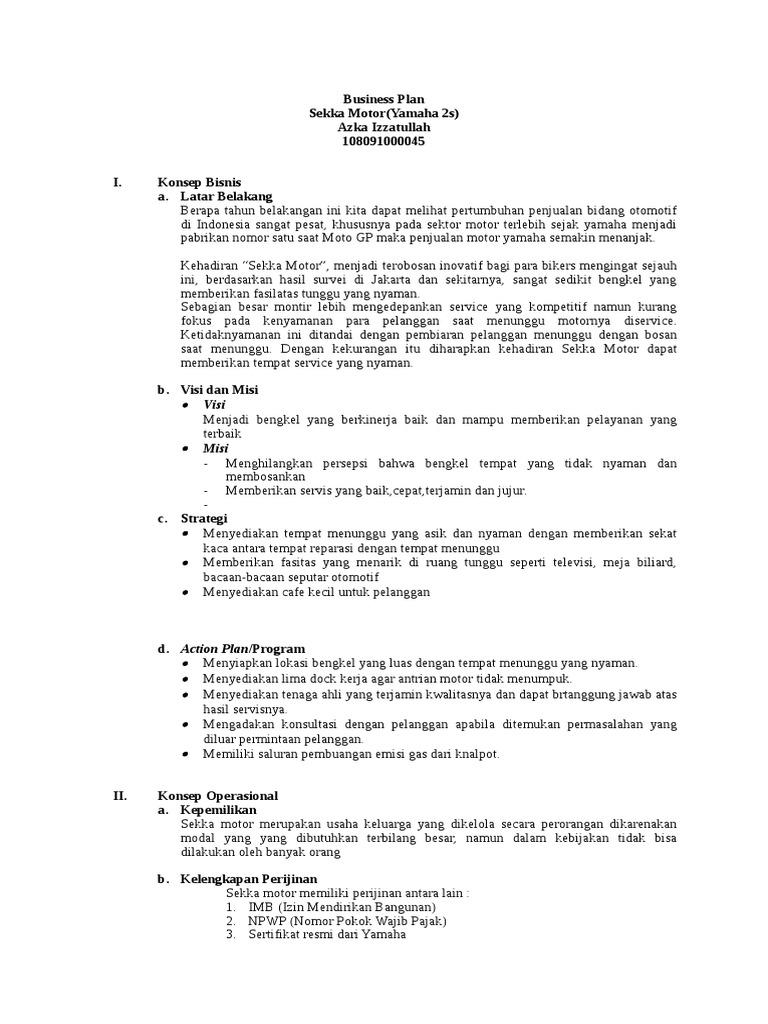 Contoh Proposal Bisnis Sekka Motor