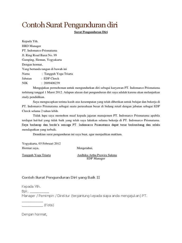 Contoh Surat Pengunduran Diri Honorer Contoh Two