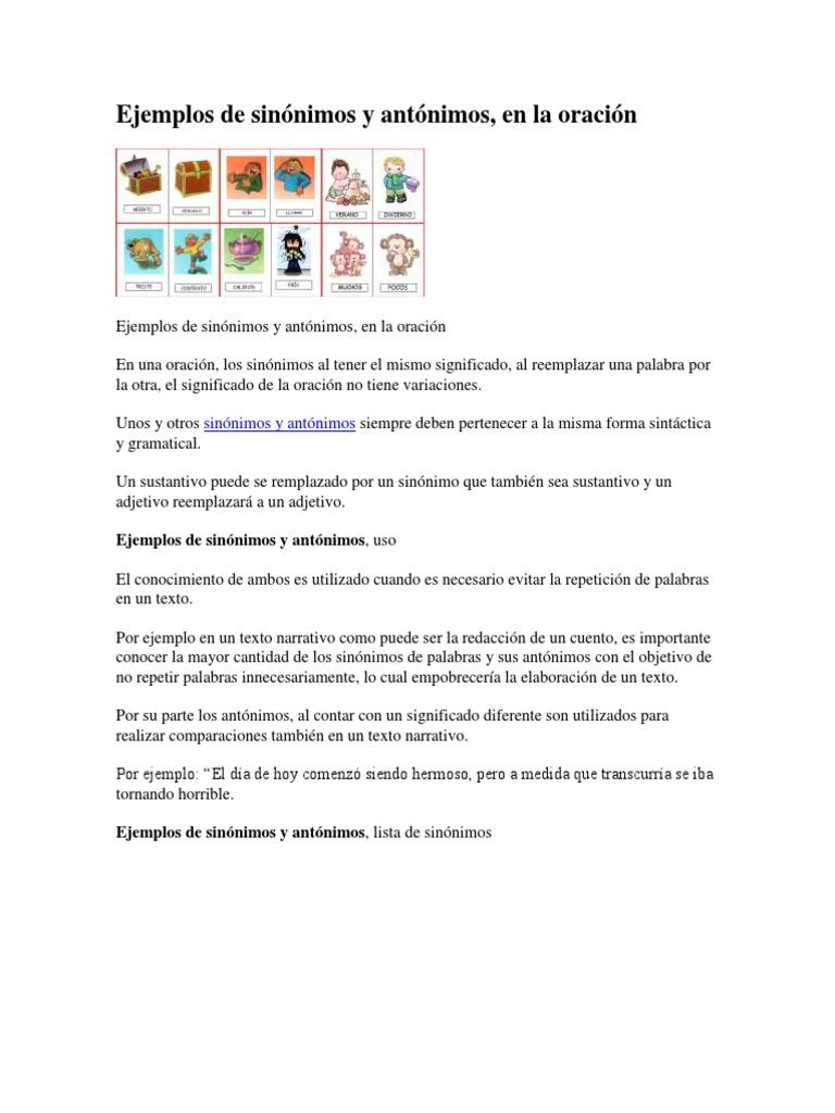Ejemplos de Sinónimos y Antónimos